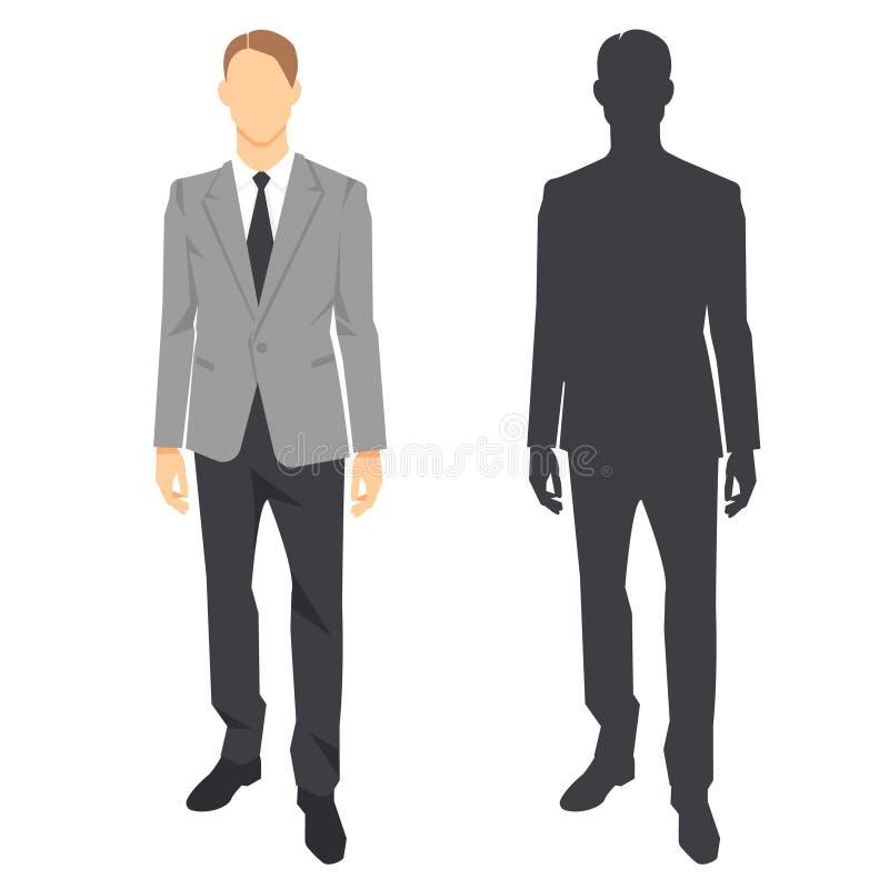 Imagen aislada del ayudante masculino del encargado de la oficina, silueta plana del vector ilustración del vector