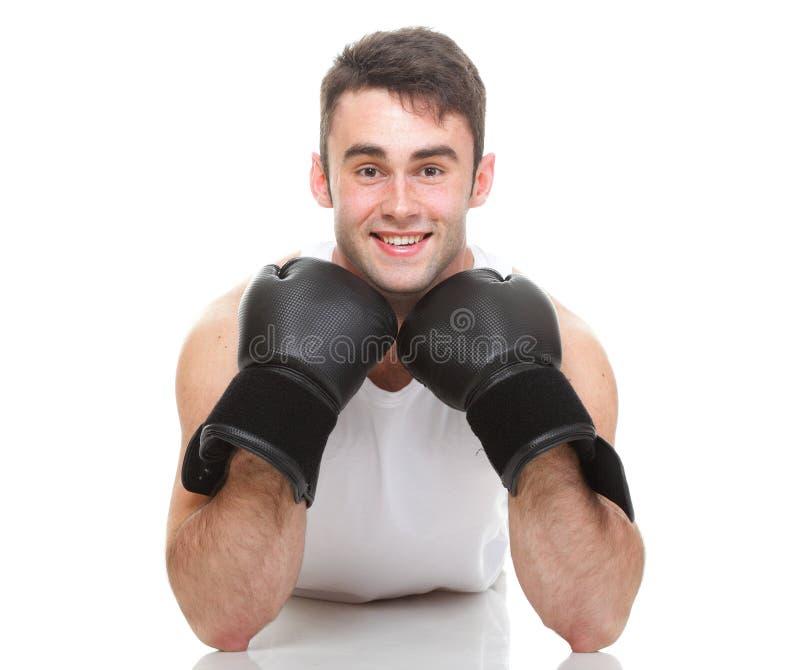 Imagen aislada del estudio de un boxeador joven fotos de archivo