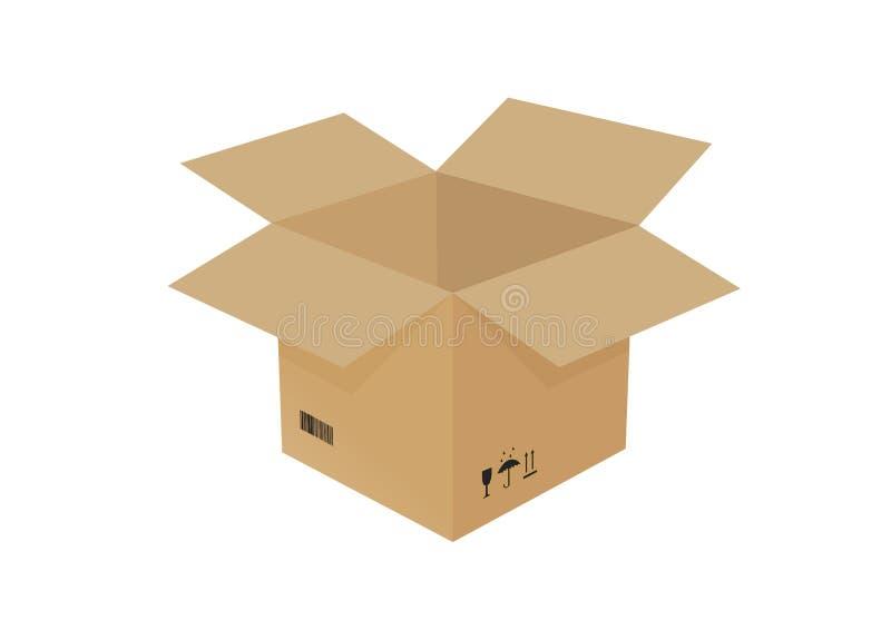 Imagen aislada grande de la caja de cartón ilustración del vector