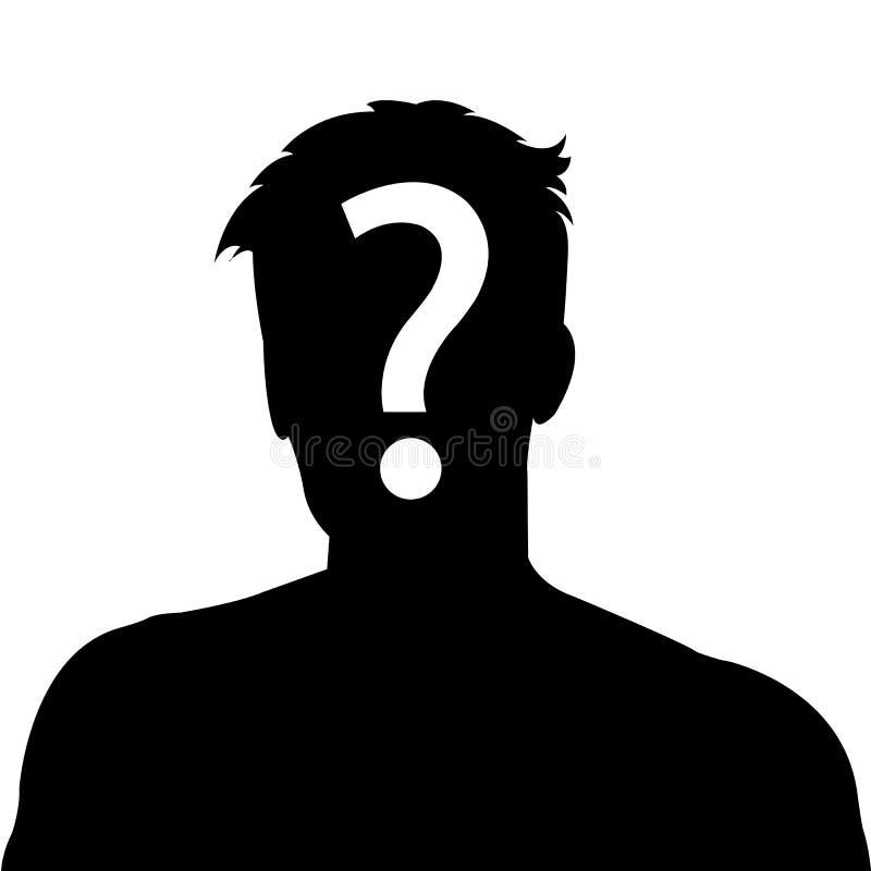 Imagen anónima del perfil del hombre stock de ilustración
