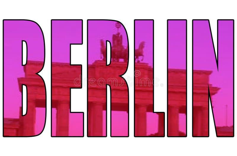 Imagen artística de la puerta de Berlín a través del texto aislado libre illustration