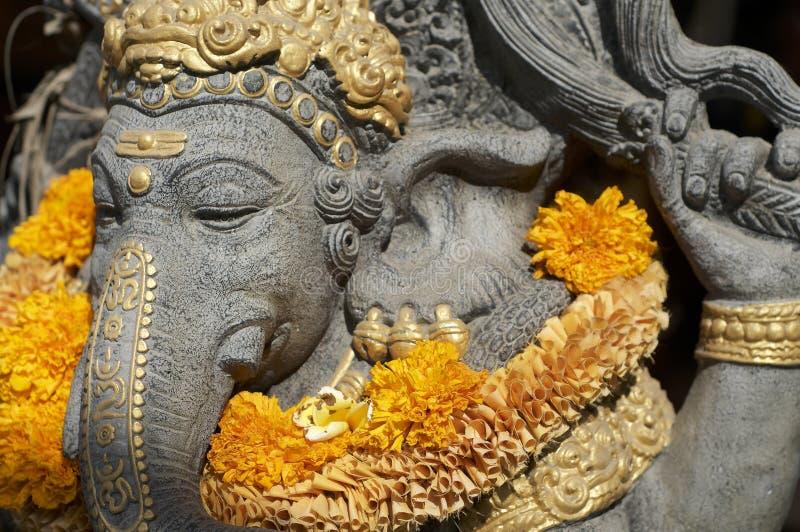 Imagen ascendente cercana de una estatua de piedra de Ganesha imágenes de archivo libres de regalías