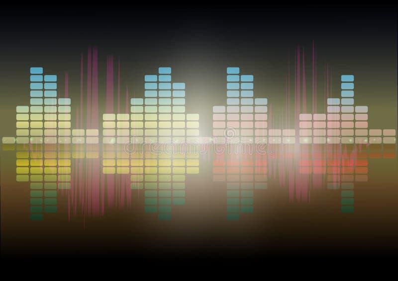 Imagen audio del vector del extracto de la tecnología del equalizador de Digitaces del fondo de la tecnología de la forma de onda libre illustration