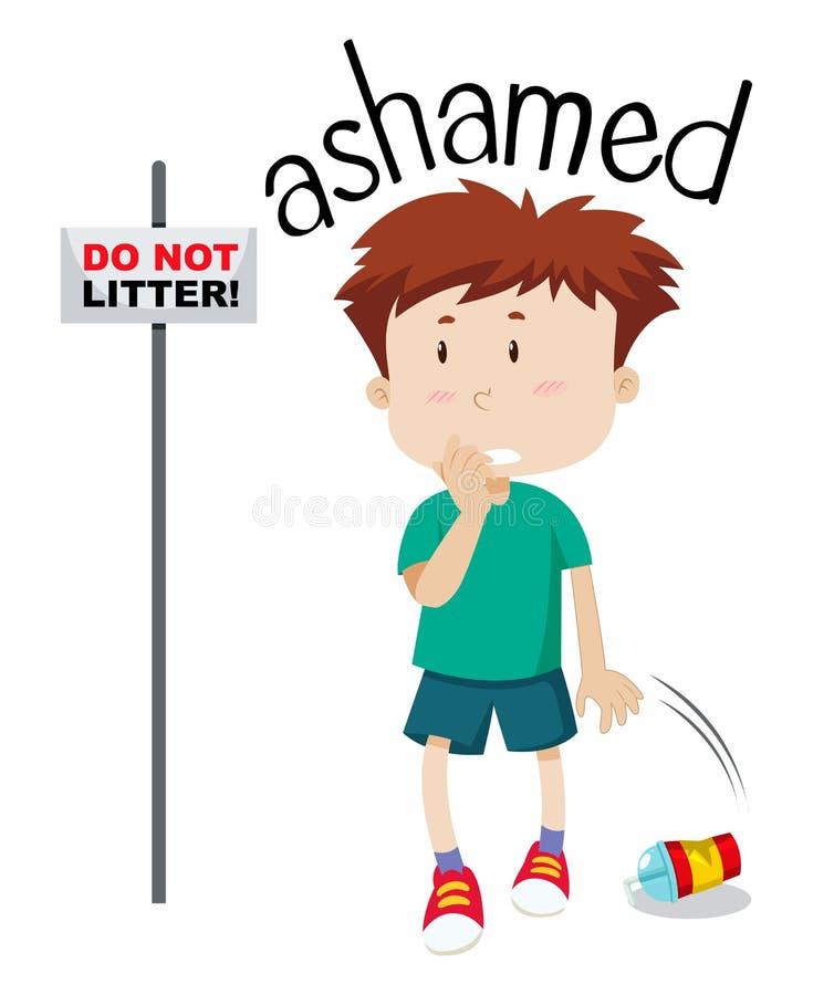 Imagen avergonzada del muchacho joven ilustración del vector