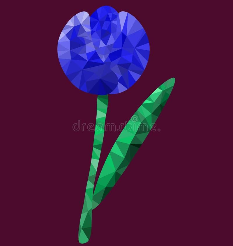 Imagen azul de la flor del polígono stock de ilustración