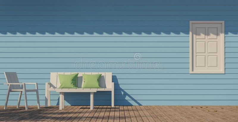 Imagen Azul De La Representación De La Terraza 3d Stock De