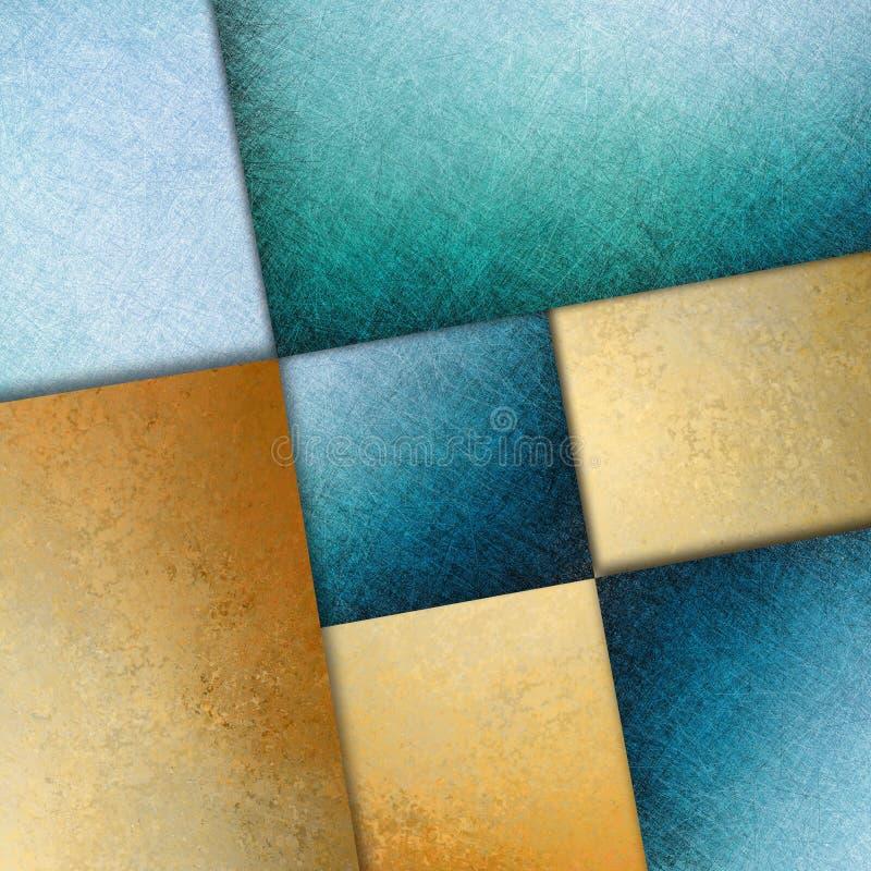 Imagen azul del diseño del arte gráfico del extracto del fondo del oro ilustración del vector