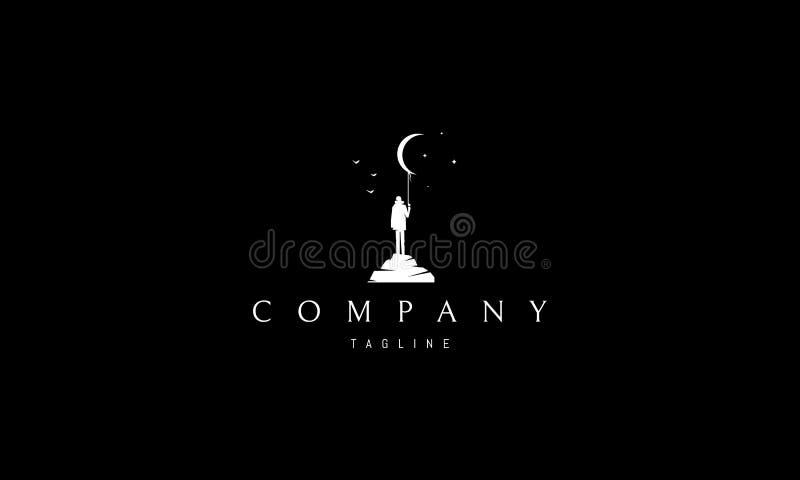 Imagen blanca del diseño del logotipo del vector del extracto del soñador ilustración del vector