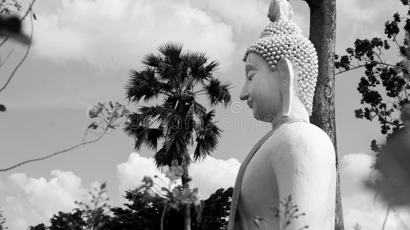 Imagen blanco y negro del estilo de la estatua blanca de Buda en el templo budista de Wat Prang Luang imagen de archivo