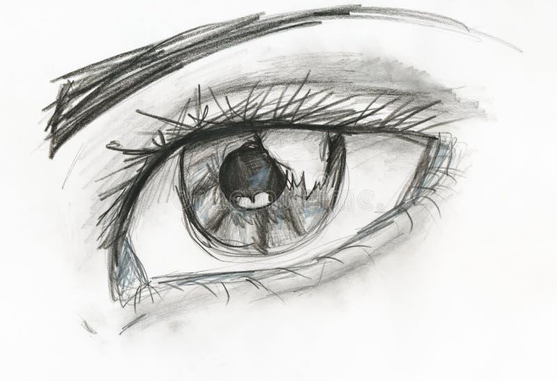 Imagen blanco y negro del ojo humano stock de ilustración
