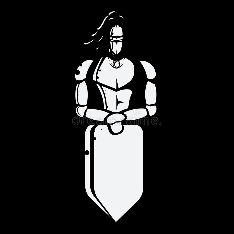 Imagen blanco y negro del vector del caballero con el escudo libre illustration
