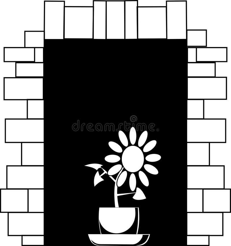 Imagen blanco y negro del vector una flor en un pote en una ventana libre illustration
