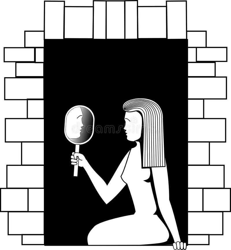 Imagen blanco y negro del vector una muchacha que se sienta en una ventana y que mira en un espejo stock de ilustración