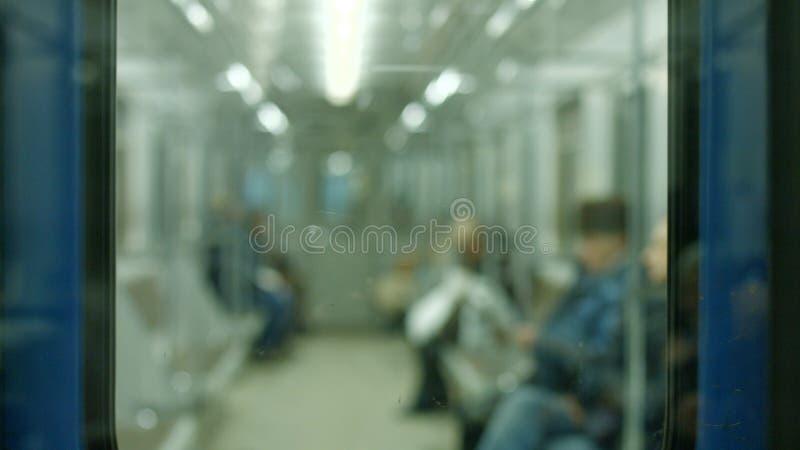 Imagen borrosa de la gente en metro imagen de archivo libre de regalías