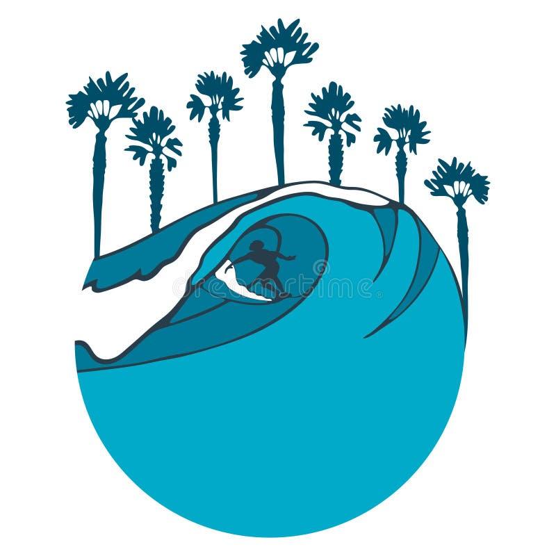 Imagen brillante colorida con una persona que practica surf en un tablero en una onda grande y siluetas de las palmas pintadas po stock de ilustración