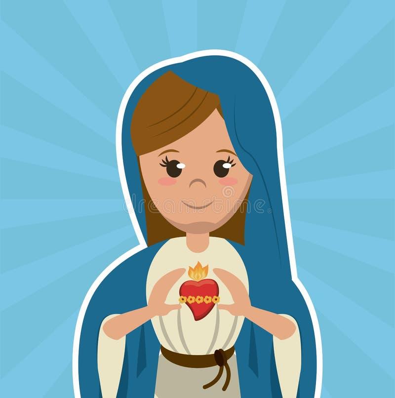 Imagen católica cristiana del símbolo del corazón sagrado de la Virgen María stock de ilustración