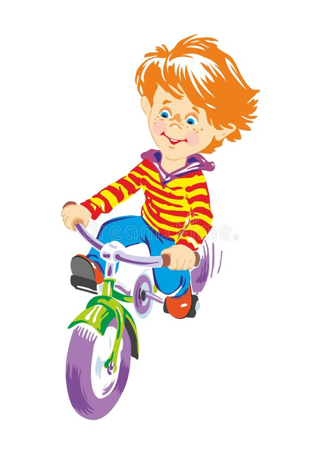 Imagen colorida de un muchacho en una bicicleta stock de ilustración