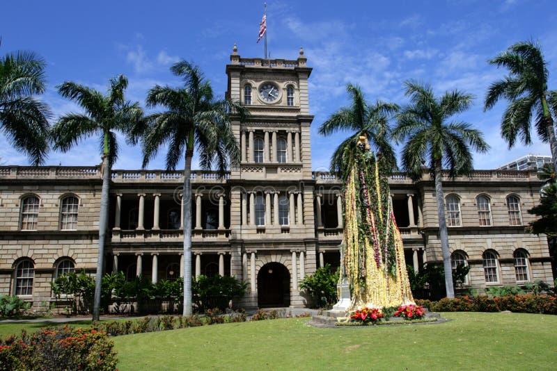 Imagen común de la estatua de rey Kamehameha, Honolulu, Hawaii fotografía de archivo libre de regalías