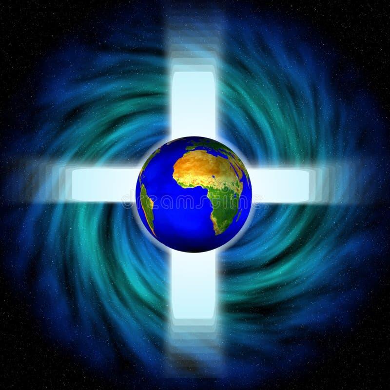 Imagen común del vórtice del espacio con la cruz y la tierra stock de ilustración