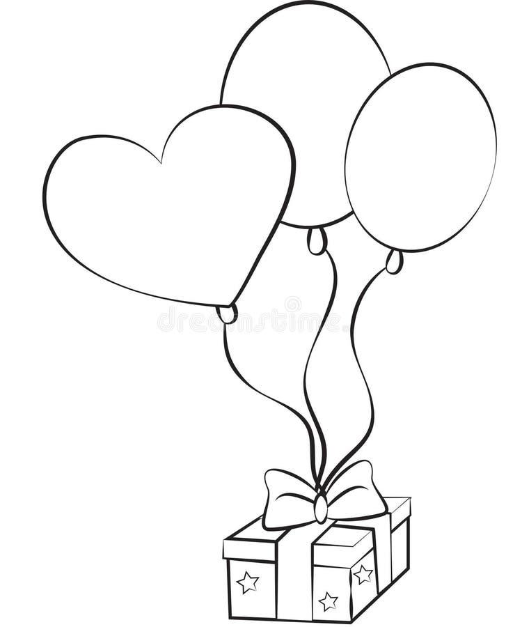 Imagen común: Globos y regalo del cumpleaños stock de ilustración