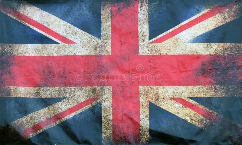 Imagen completa del marco de una bandera sucia manchada vieja de británicos del Union Jack con los bordes arrugados oscuros stock de ilustración