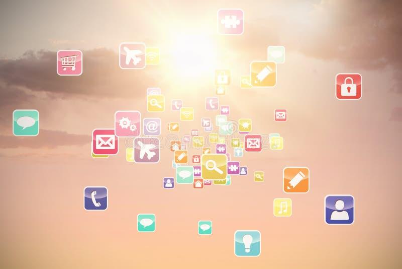 Imagen compuesta 3d de las aplicaciones informáticas coloridas foto de archivo libre de regalías