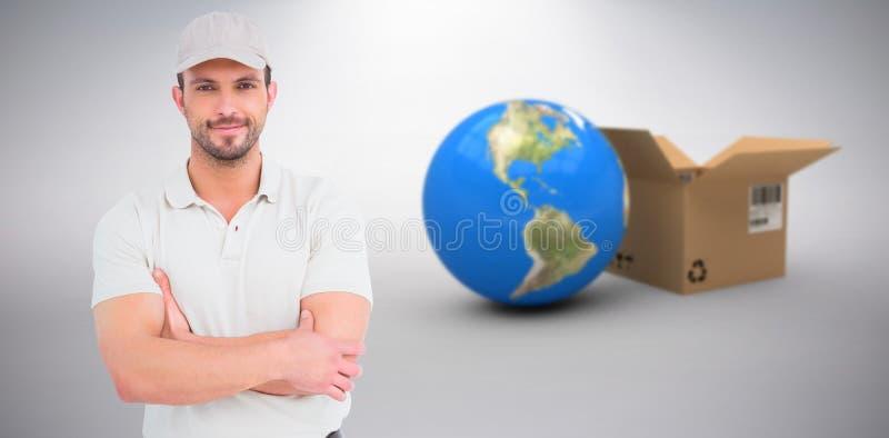 Imagen compuesta 3d de los brazos derechos del hombre de entrega cruzados imagen de archivo libre de regalías