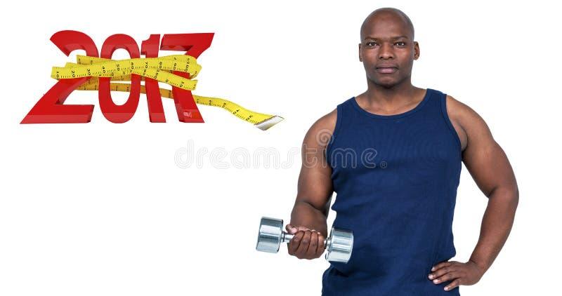 imagen compuesta 3D del hombre muscular que ejercita con pesa de gimnasia imágenes de archivo libres de regalías