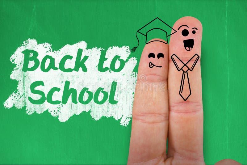 Imagen compuesta de caras sonrientes antropomorfas digitales de estudiantes en los fingeres ilustración del vector