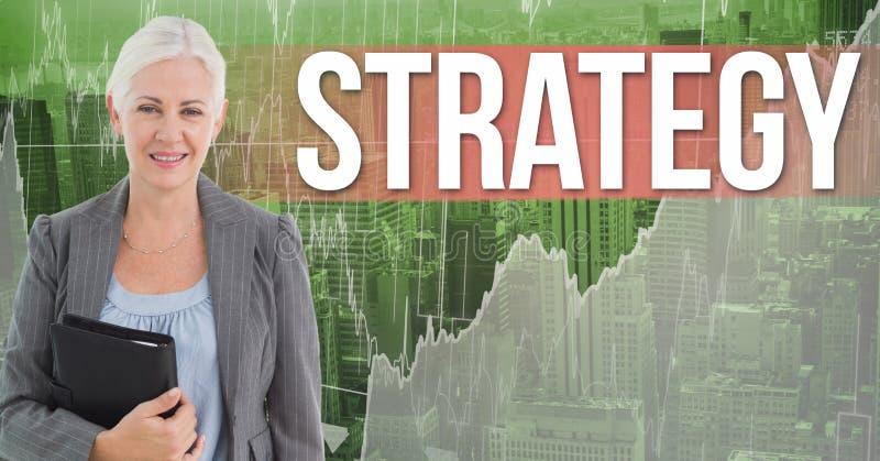 Imagen compuesta de Digitaces de la empresaria que lleva a cabo estrategia del texto del diario que hace una pausa negro contra g ilustración del vector