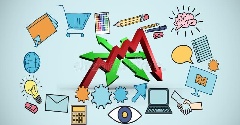 Imagen compuesta de Digitaces de las muestras de la flecha y de los iconos del negocio stock de ilustración