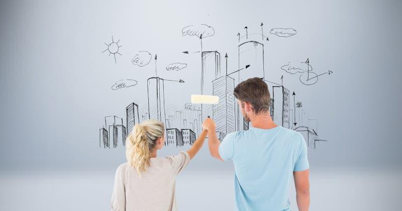 Imagen compuesta de Digitaces de los pares que sostienen el rodillo de pintura con los edificios en fondo stock de ilustración