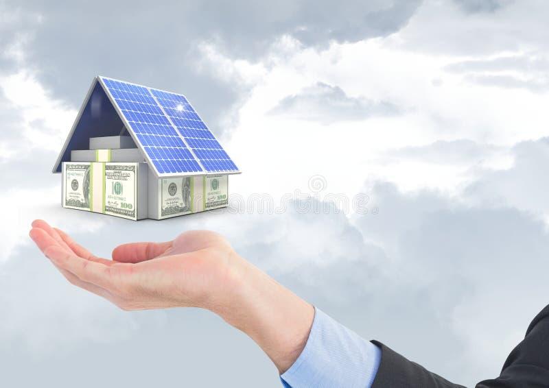 Imagen compuesta de Digitaces de monedas y del panel solar sobre la mano del negocio contra el cielo stock de ilustración