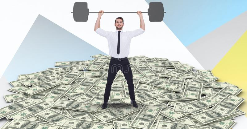 Imagen compuesta de Digitaces del barbell de elevación del hombre de negocios en el dinero fotografía de archivo