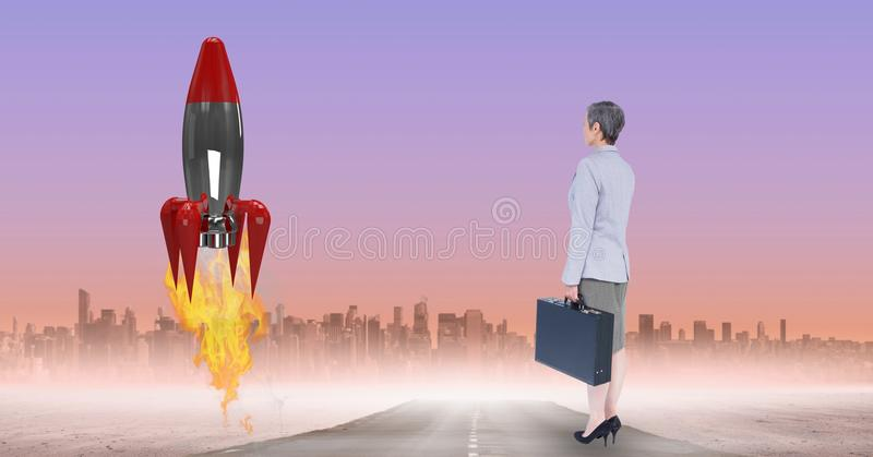 Imagen compuesta de Digitaces del cohete de observación de la empresaria lanzar contra ciudad ilustración del vector