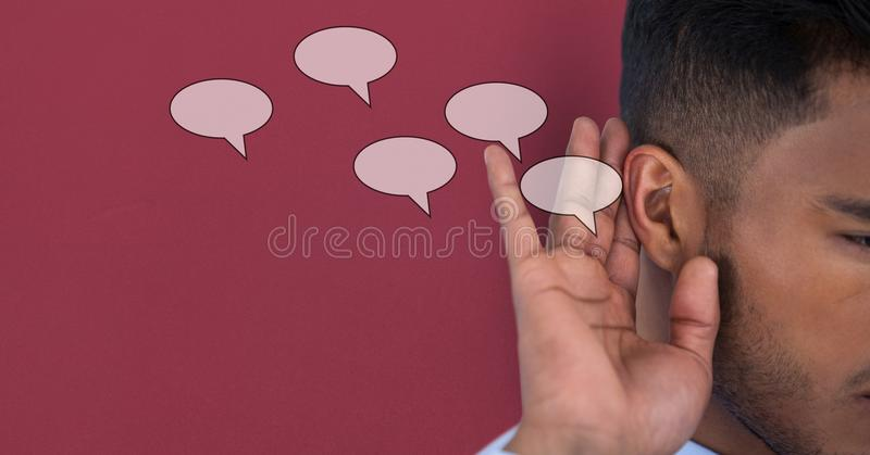 Imagen compuesta de Digitaces del discurso que escucha del hombre foto de archivo