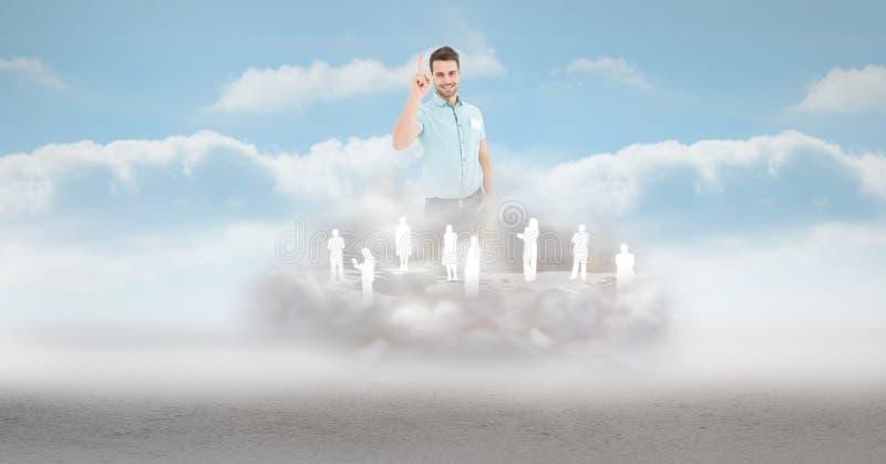 Imagen compuesta de Digitaces del hombre de negocios con los empleados en la nube en cielo stock de ilustración