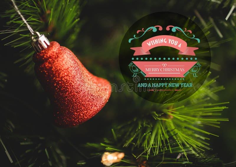 Imagen compuesta de Digital del mensaje de la Feliz Navidad y de la Feliz Año Nuevo fotografía de archivo libre de regalías