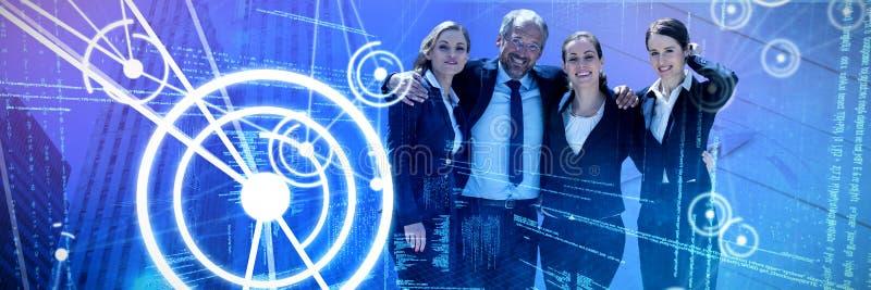 Imagen compuesta de hombres de negocios con los brazos alrededor de oponerse al fondo blanco foto de archivo