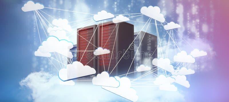 Imagen compuesta de la imagen abstracta del símbolo computacional de la nube stock de ilustración
