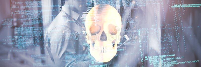 Imagen compuesta de la imagen compuesta de códigos binarios stock de ilustración