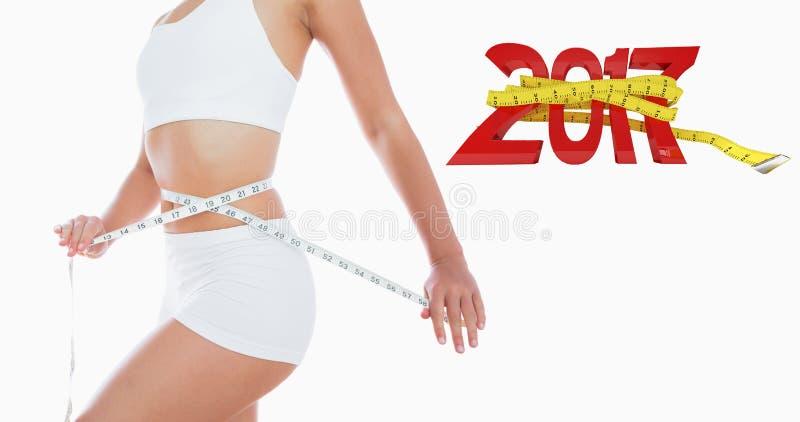 Imagen compuesta de la cintura de medición de la mujer stock de ilustración