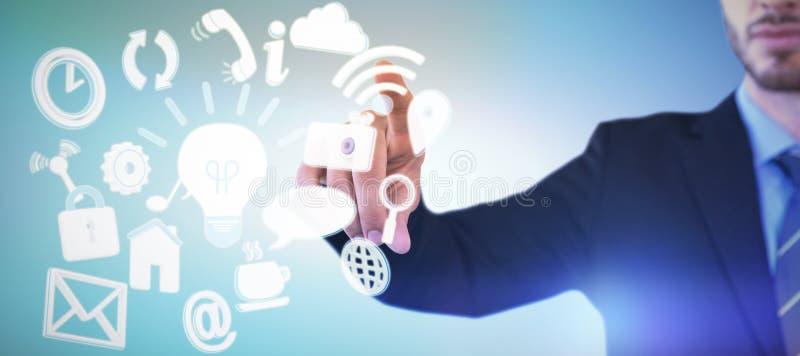 Imagen compuesta de la imagen cosechada del dedo índice conmovedor del hombre de negocios en la pantalla invisible fotografía de archivo libre de regalías