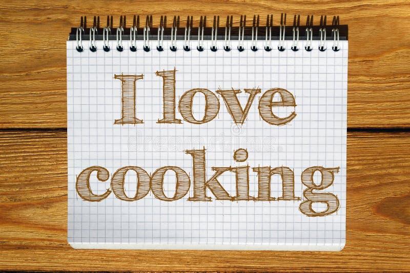Imagen compuesta de la imagen digital del amor de I que cocina el texto stock de ilustración