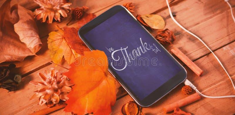 Imagen compuesta de la imagen digital del saludo feliz del texto del día de la acción de gracias libre illustration