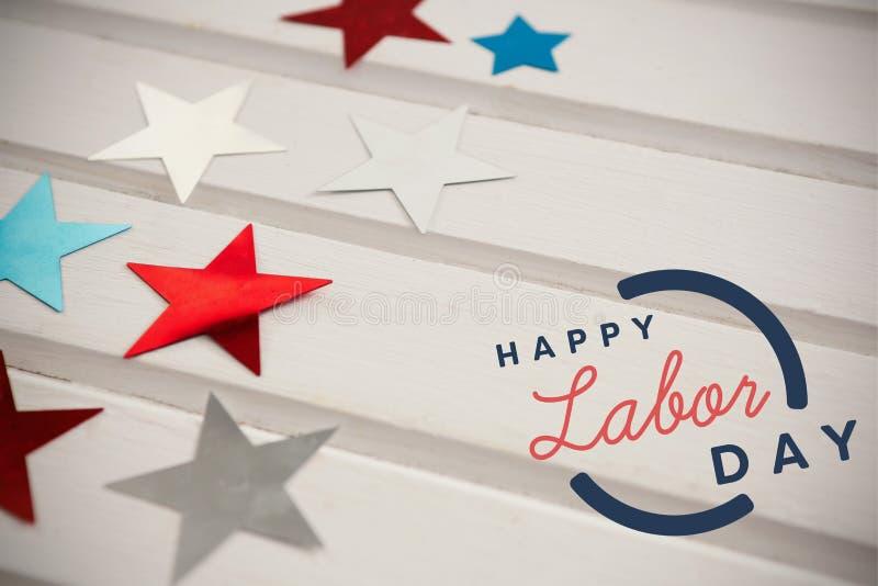 Imagen compuesta de la imagen compuesta digital del texto feliz del Día del Trabajo con el esquema azul imagen de archivo