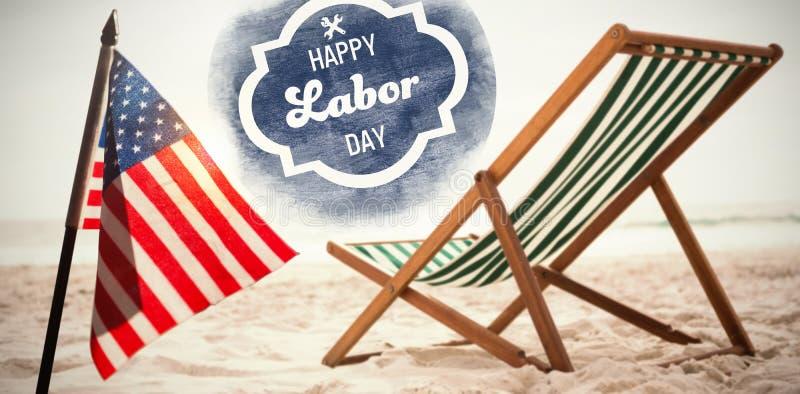 Imagen compuesta de la imagen compuesta digital del texto feliz del Día del Trabajo con las herramientas en el cartel azul fotos de archivo libres de regalías
