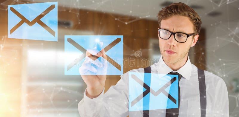 Imagen compuesta de la escritura geeky del hombre de negocios con el marcador fotografía de archivo libre de regalías