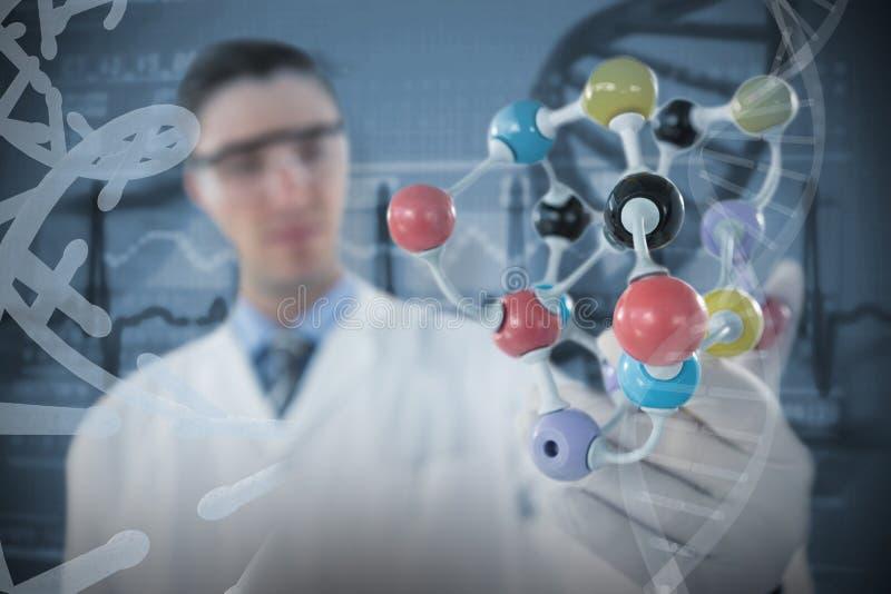 Imagen compuesta de la estructura de experimentación 3D de la molécula del científico imagen de archivo libre de regalías