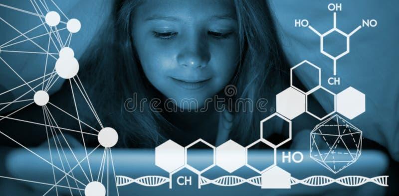 Imagen compuesta de la imagen compuesta de la estructura de la molécula ilustración del vector